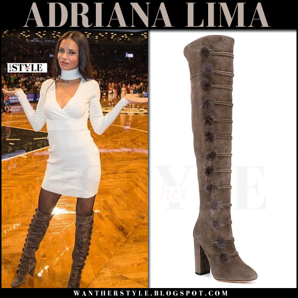 Adriana Lima in brown suede over the knee boots aquazzura ulyana and white mini dress what she wore