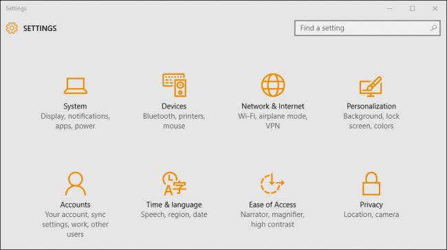 Windows 10 Control Panel ScreenShot