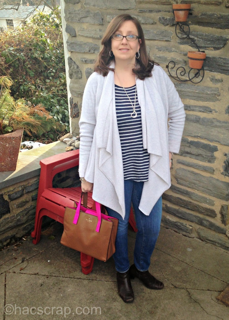 What I'm Wearing Right Now - a cashmere cardigan styled with a t shirt and skinny jeans.