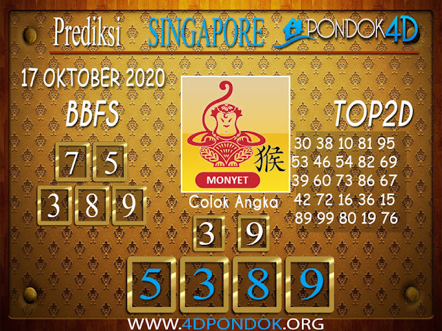 Prediksi Togel SINGAPORE PONDOK4D 17 OKTOBER 2020