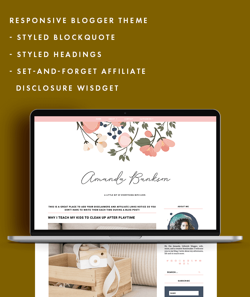 Amanda Bankson theme is customisable and has amazing features