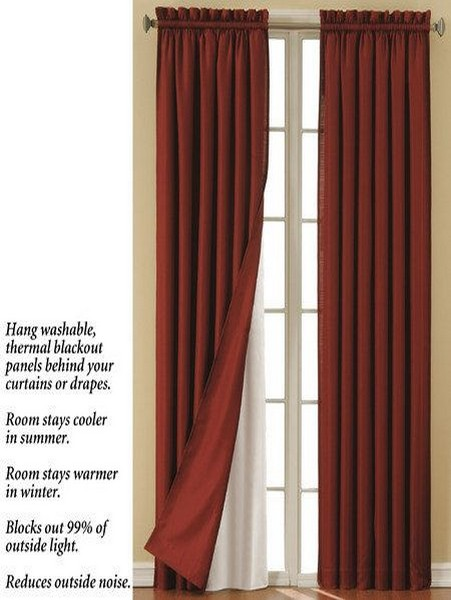 Examples of blackout curtain panel liner