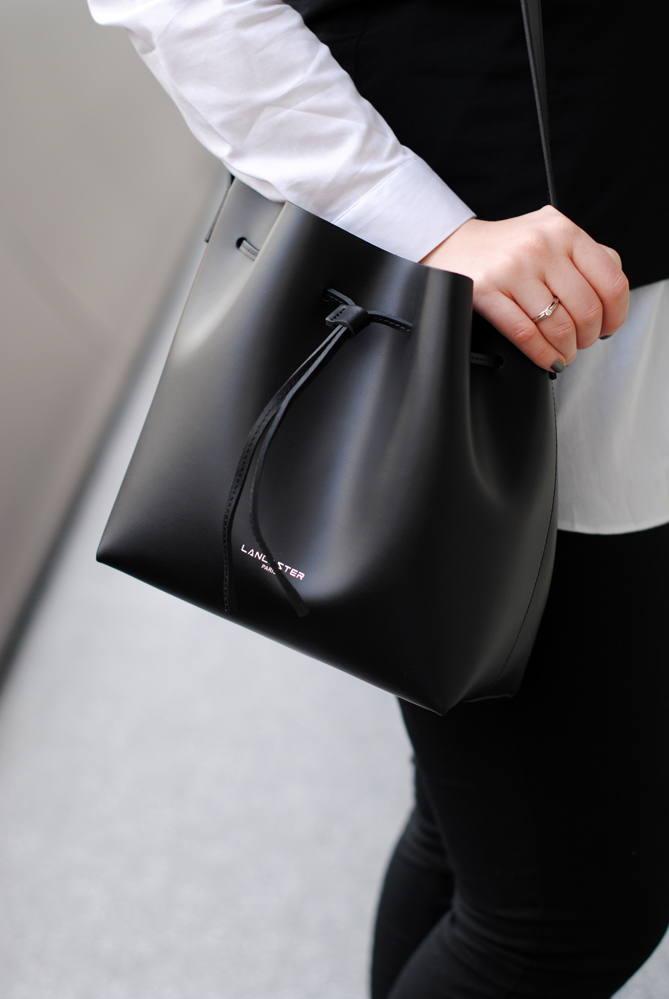 lancaster black bucket bag