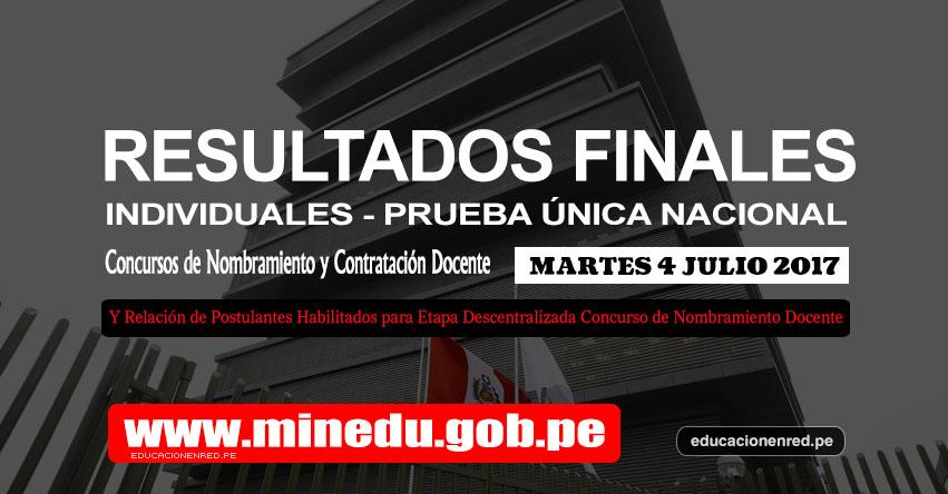 MINEDU: Resultados Finales Individuales de la Prueba Única Nacional y Relación de Postulantes Habilitados para Etapa Descentralizada Nombramiento Docente 2017 - www.minedu.gob.pe