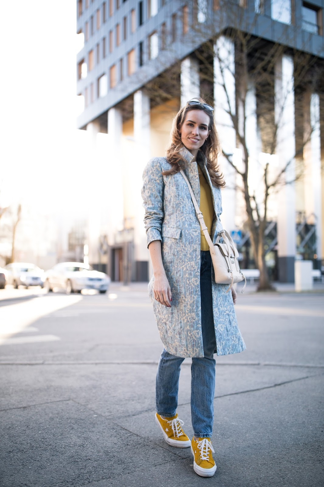 light blue coat spring outfit