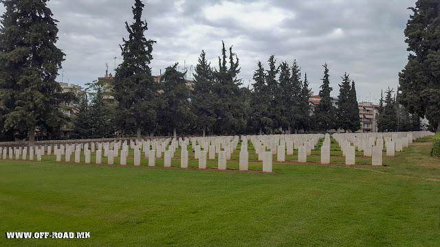 Graves of British soldiers - Zeitinlik military WW1 cemetery in Thessaloniki, Greece