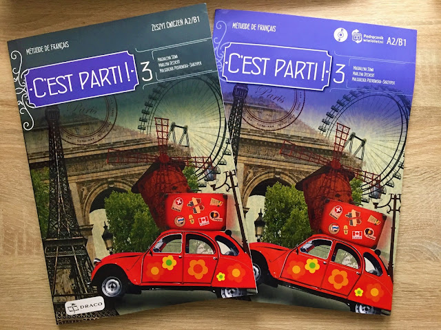 """Recenzje 181 - """"C'est parti 3 !"""" - okładka podręcznika oraz zeszytu ćwiczeń - Francuski przy kawie"""