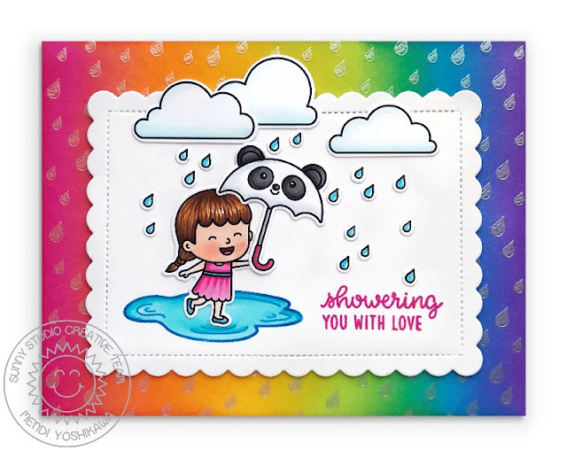Sunny Studio Blog: Showering You With Love Rainy Day Rainbow Ombre Raindrop Card with Panda Umbrella (using Spring Showers, Rain Showers & Rain or Shine Stamps and Scalloped Square Tag Dies)