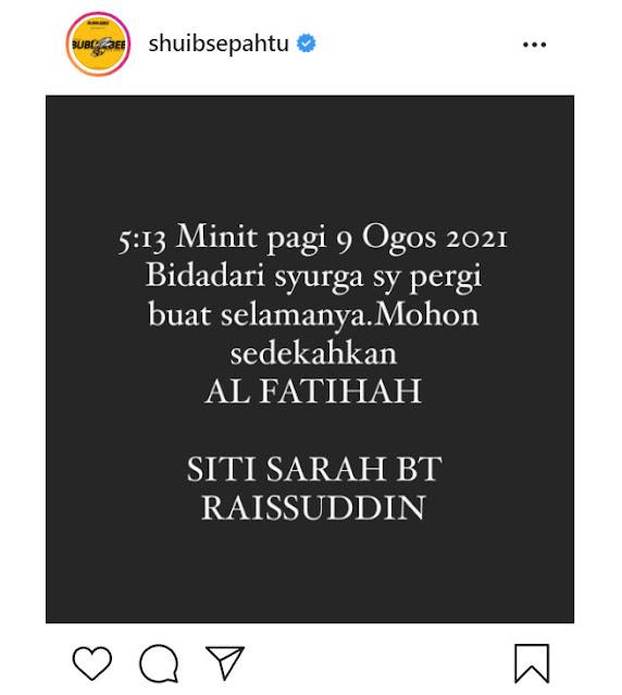 siti sarah meninggal dunia