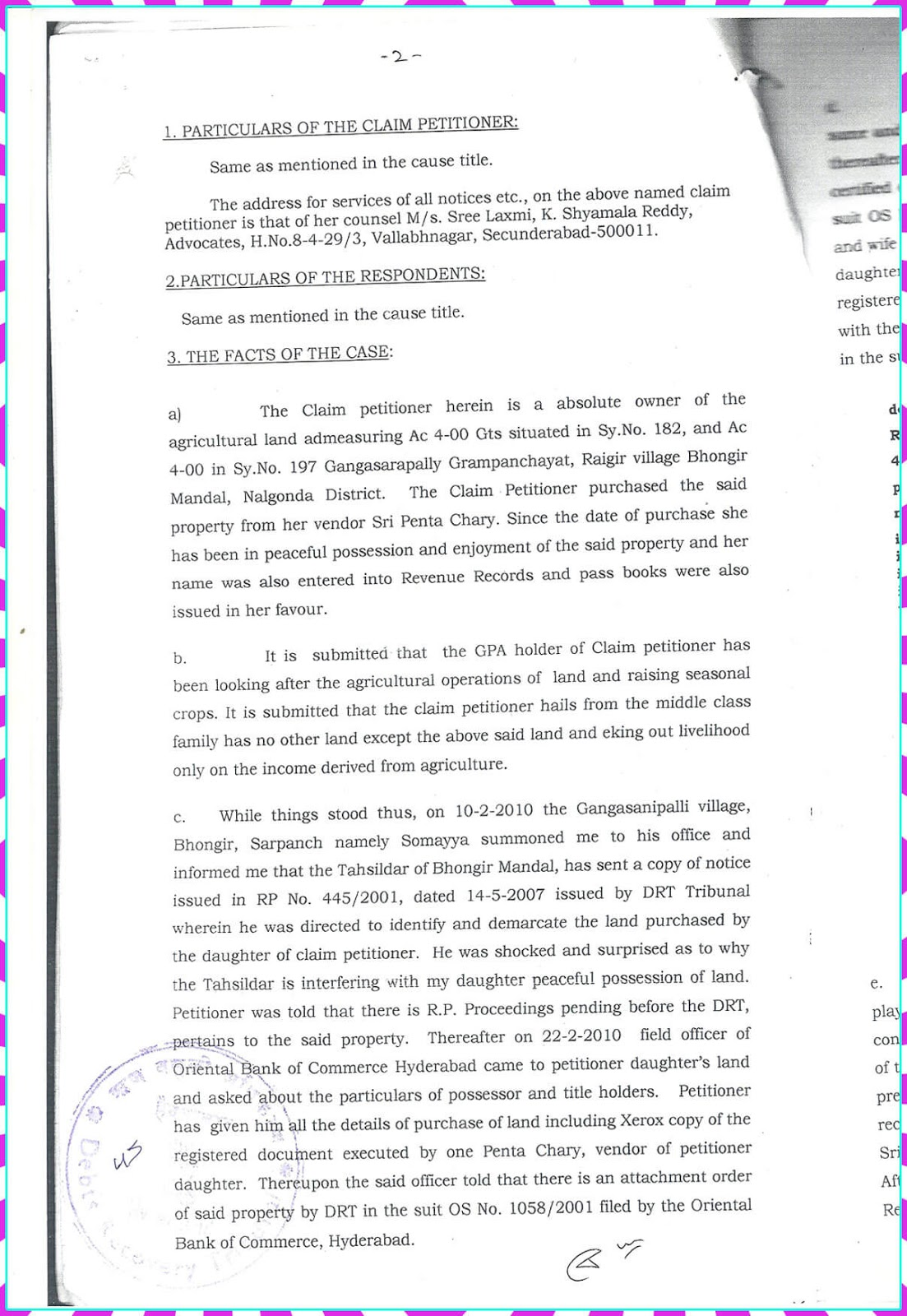 Claim Petition.No. 9 of 2010-D.R.T-1 Hyderabad-2