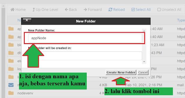 form isian membuat nama folder baru di cPanel