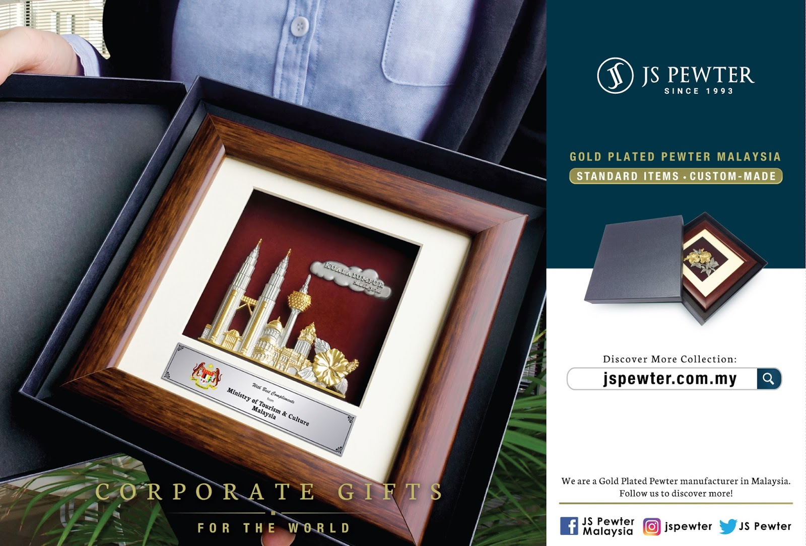 Corporate Gifts Award Plaque Malaysia (JS Pewter)
