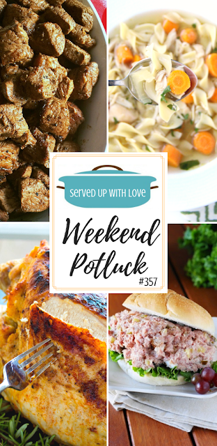 Weekend Potluck featured recipes include Leftover Ham Salad, Slow Cooker Turkey Breast and Gravy, Perfectly Cooked Steak Bites, Crock Pot Chicken Noodle Soup, and so much more.