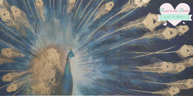 cuadro pavo real azul