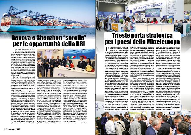 """GIUGNO 2019 PAG. 22 - Genova e Shenzhen """"sorelle"""" per le opportunità della BRI"""