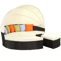 Outdoor Furniture, Wicker Daybeds, Wicker Outdoor Furniture, LexMod Quest Circular Outdoor Wicker Rattan Patio Daybed with Canopy