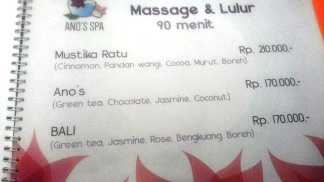 Daftar Harga Massage & Lulur - Ano's Spa