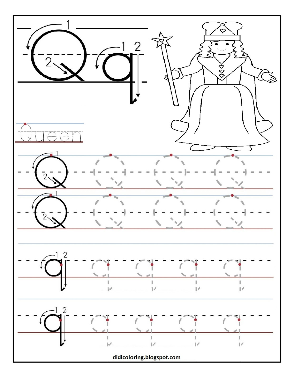 Didi coloring Page: Free printable worksheet letter Q for your
