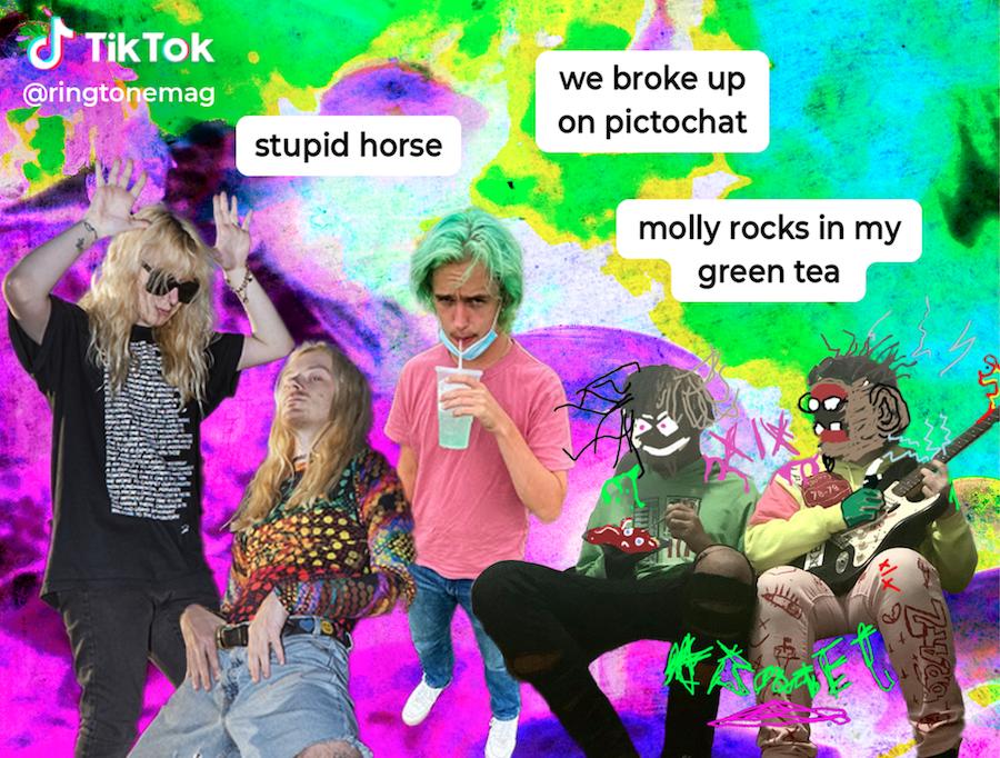 Tik tok styled graphic of 100 gecs cmten and xix
