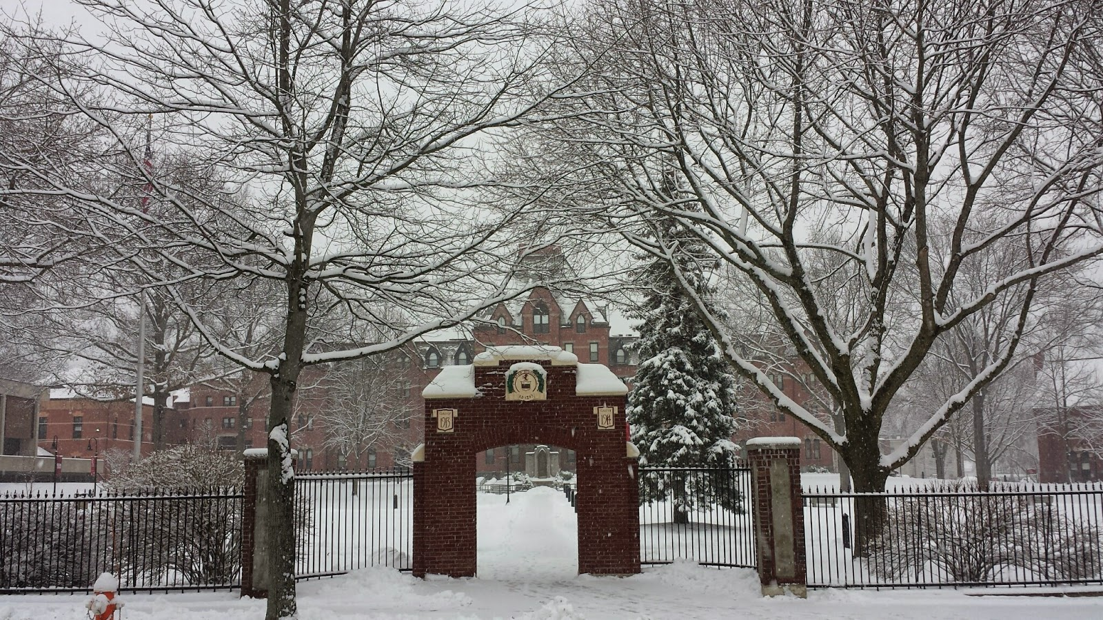 The entrance to Dean College in snow
