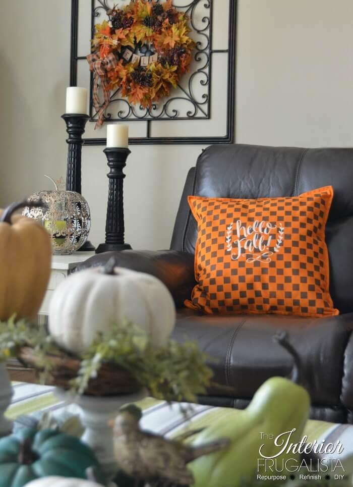 Checkered Fall Throw Pillow