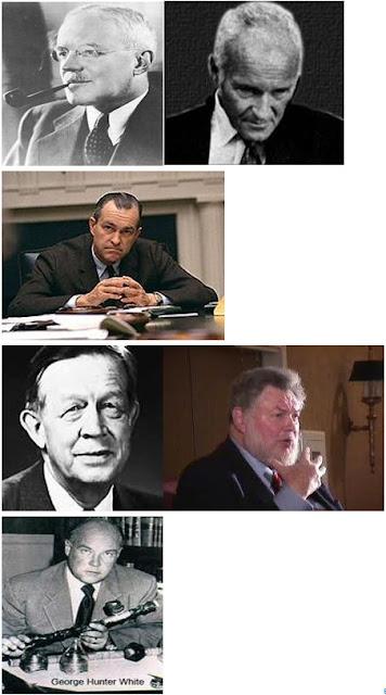 Principi MKULTRA: da sinistra in alto: Direttore della CIA Allen Dulles (1953-1961), Dr. Sidney Gottlieb, capo di MKULTRA e MKSEARCH (1953-1973), Direttore della CIA Richard Helms (1966-1973), in basso a sinistra: Dr. George Estabrooks, laureato ad Harvard, studioso di Rhodes, e 32° grado Mason, Presidente del Dipartimento di Psicologia, Colgate University, pioniere negli usi militari dell'ipnosi, in basso a destra: Dr. Louis Jolyon West, psicologo dell'UCLA e subappaltatore MKULTRA, fondatore e direttore della False Memory Syndrome Foundation (FMSF), George White (alias Morgan Hall), supervisore dell'operazione Midnight Climax.