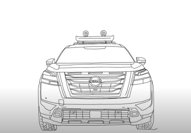 How to Draw Nissan Pathfinder 2022 - Step by Step