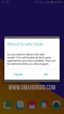 Menu Reboot Masuk ke Safe Mode Zenfone
