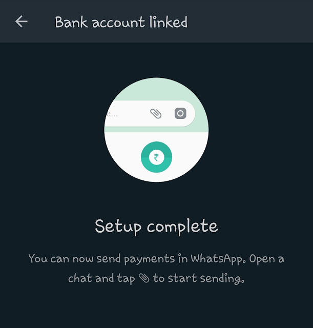 WhatsApp Payments setup successfully
