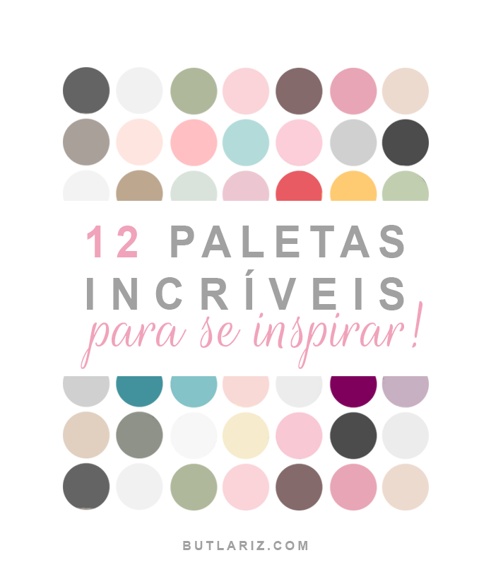 Imagem com bolinhas coloridas, e no meio escrito: 10 paletas incríveis para se inspirar