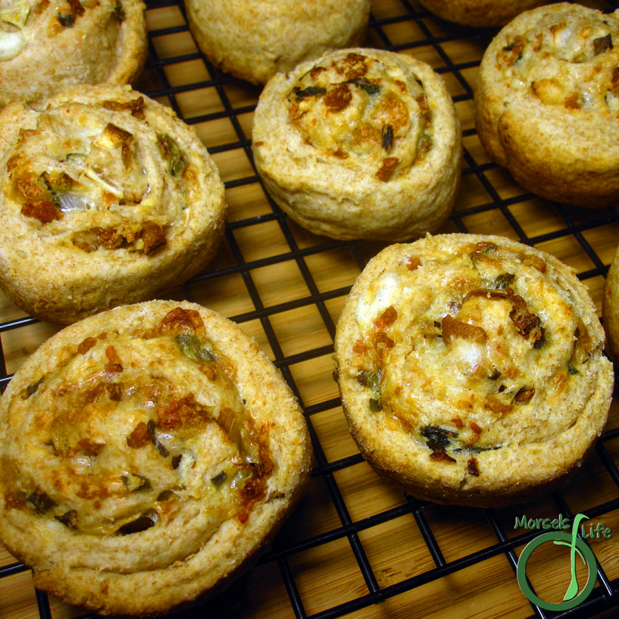 Morsels of Life - Cheddar Bacon Swirl Biscuits - Savory, buttery, and tender bacon cheddar swirl biscuits.