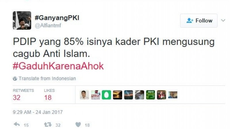 Alfian Tanjung sebut 85 persen kader PDIP PKI