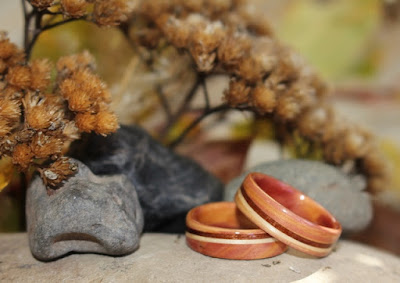 Juniper heartwood Rings with spiraled inlays of Pecan and Redwood