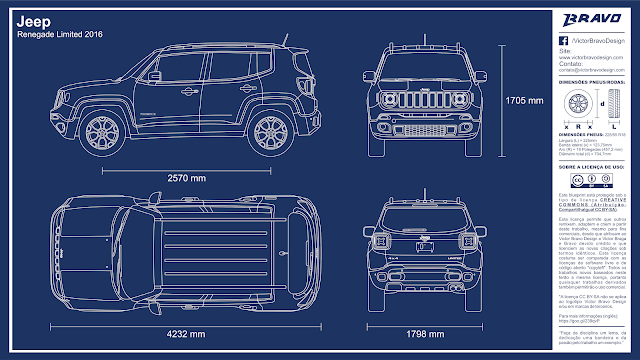 Imagem mostrando o desenho do blueprint do Jeep Renegade Limited 2016