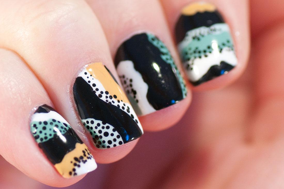 Abstract Wavy Pattern Nail Art with dots