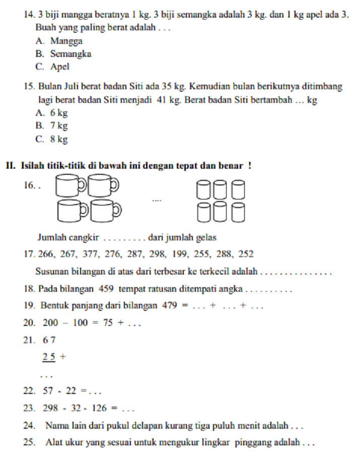 Soal Dan Jawaban Latihan Uas Matematika Kelas 2 Sd Mi Semester 1 Serba Serbi Guru