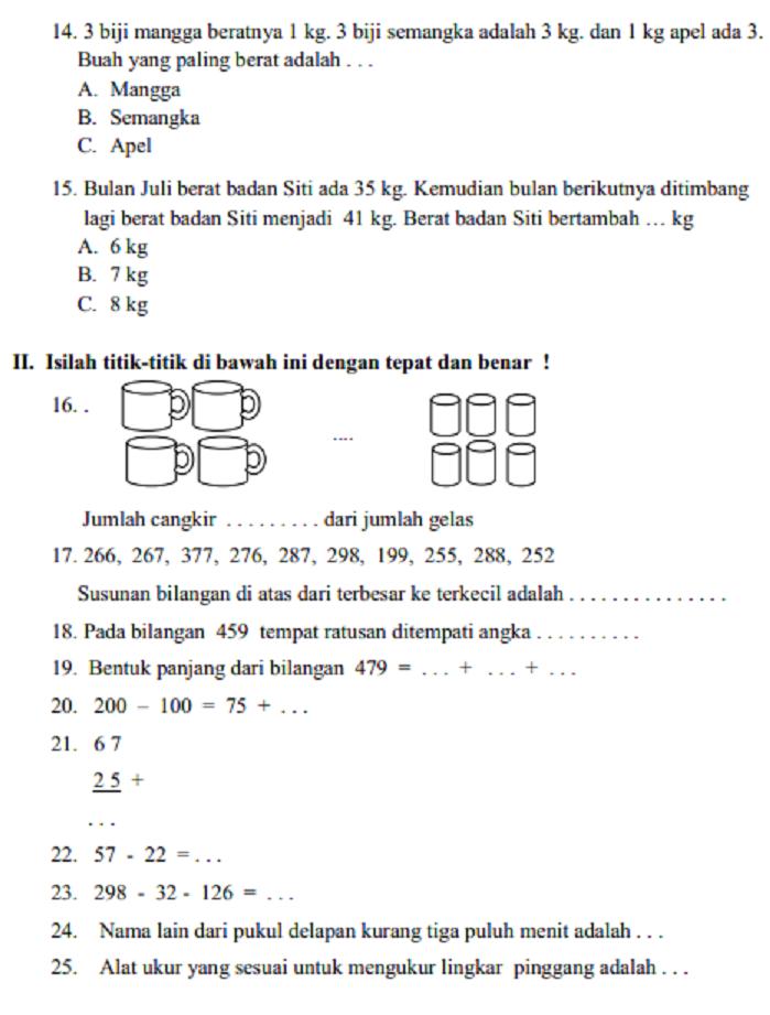 Soal Dan Jawaban Latihan Uas Matematika Kelas 2 Sd Mi