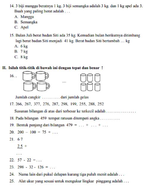 Soal  matematika  kelas  2 sd semester  1  Dan  Kunci Jawaban  2019