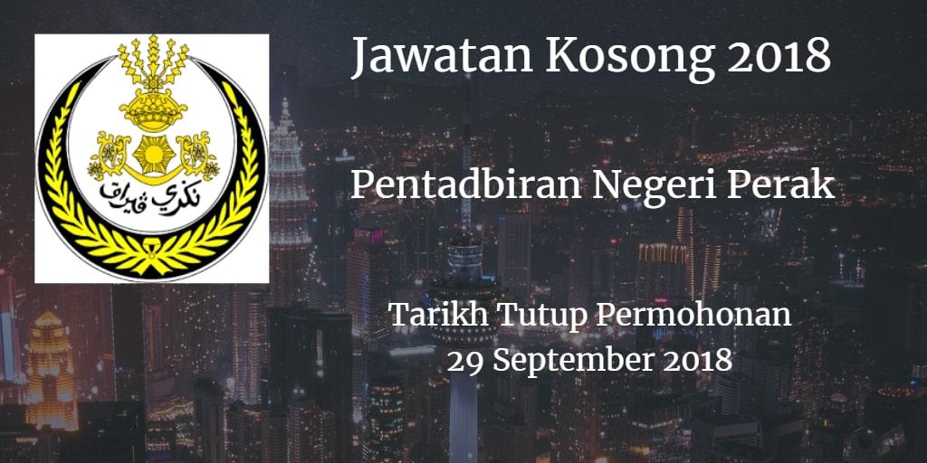 Jawatan Kosong Pentadbiran Negeri Perak 29 September 2018