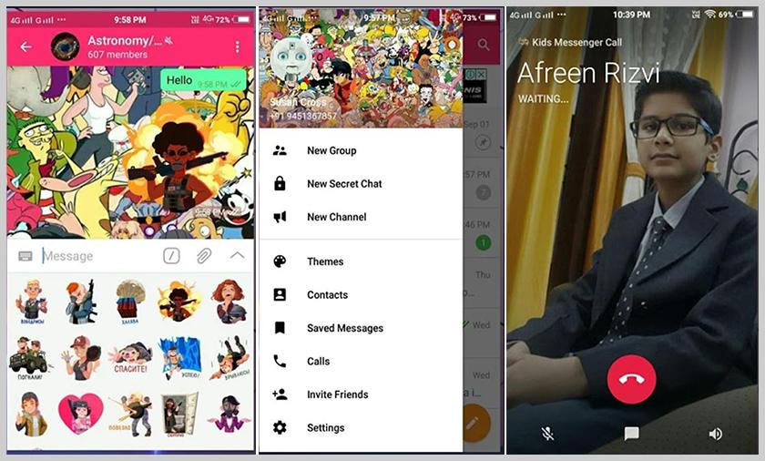 screen de messenger para niños