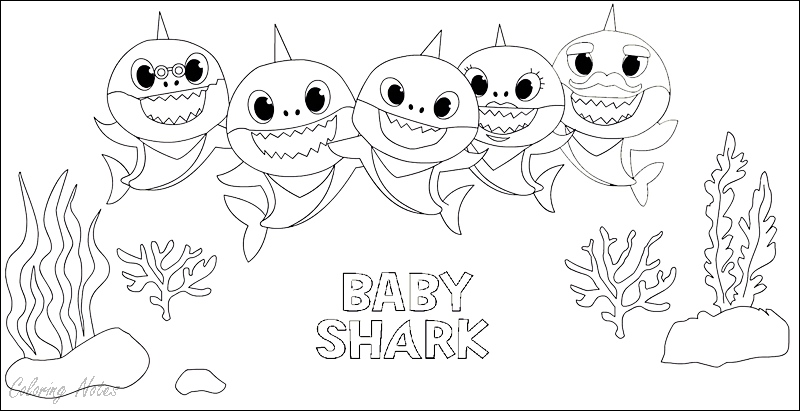 11 Baby Shark Coloring Pages Free Printable For Kids Easy ...