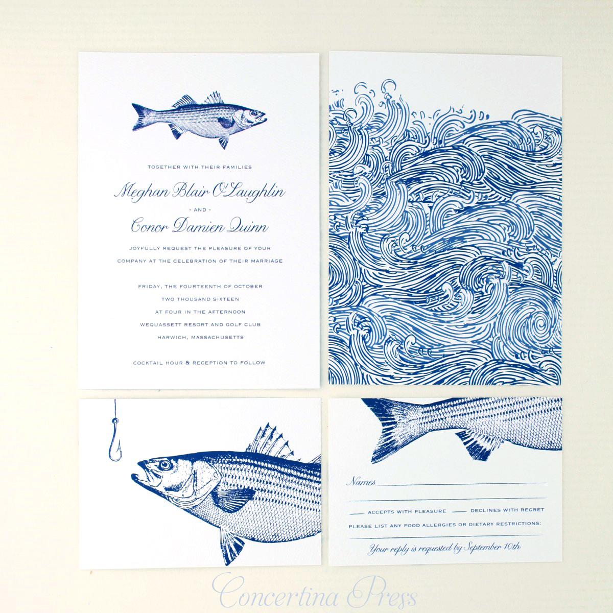 Striped Bass Wedding Invitation from Concertina Press - double sided with waves