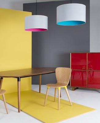 neon pink and neon blue lined lampshades