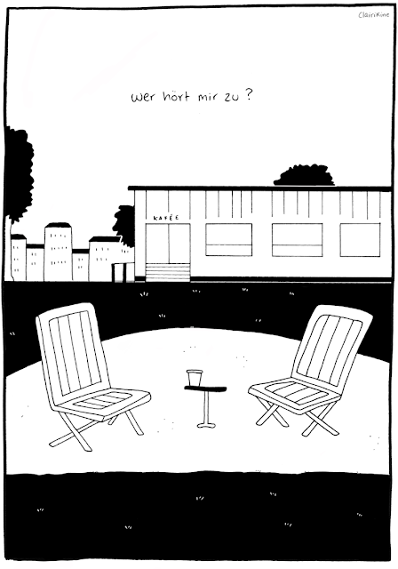 """Black and white illustration of two deck chairs in front of an outdoor café, with a small table between them and a cup of coffee sitting on it. In the background you can see buildings and trees. A caption says """"who is listening to me?"""" in German."""