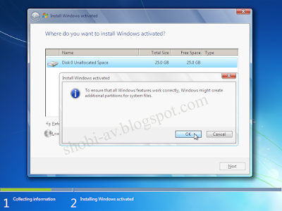 Partisi HDD baru cara install windows 7
