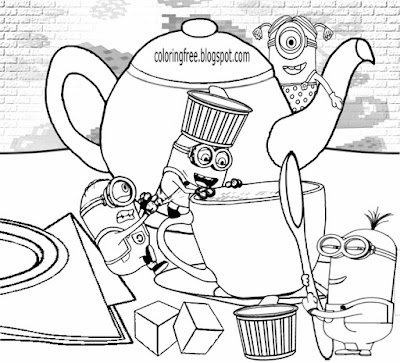 Childrens simple fun drawing of Minion free to color online tea time ace coloring sheets to printout