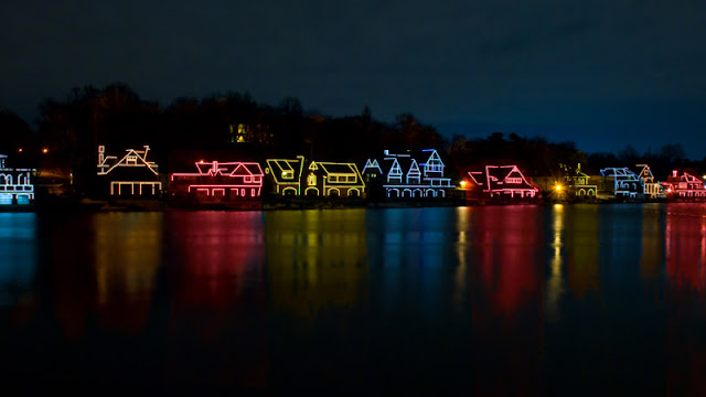 Christmas lights reflecting off the water
