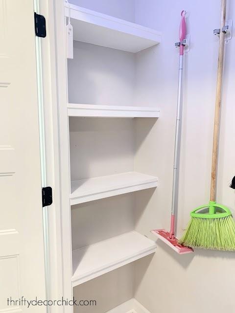 DIY shelves dead space at end of closet
