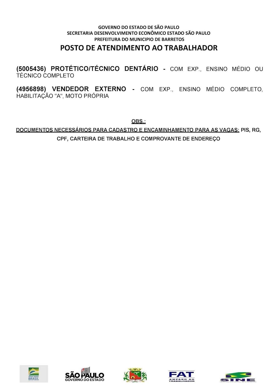 VAGAS DE EMPREGO DO PAT BARRETOS-SP PARA 10/07/2019 (QUARTA-FEIRA) - PAG. 2