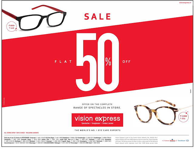 Flat 50% on Vision Express | June 2017 Discount Offers